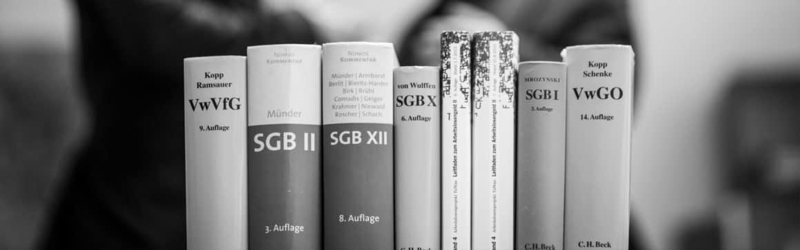 Bücher zur Sozialgesetzgebung / Hartz IV, Rechtsanwälte für Sozialrecht im Hintergrund