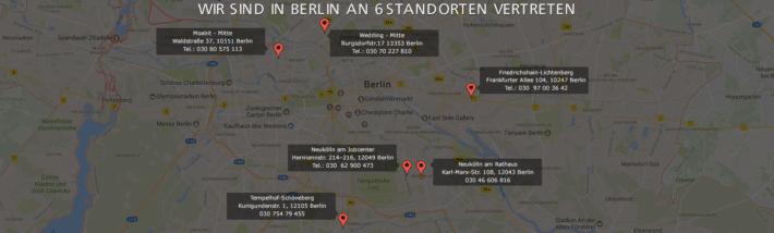 Anwalt Sozialrecht Berlin Standorte Karte Map